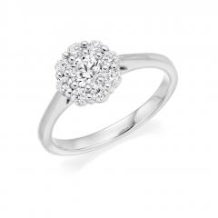 Brilliant Cut Diamond Cluster Platinum Claw Set Engagement Ring
