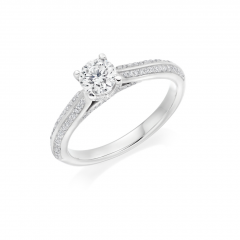 Claw Set Round Brilliant Diamond Solitaire Platinum Engagement Ring with Diamond Set Shoulders
