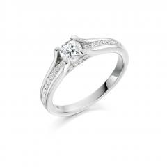 Diamond Solitaire Platinum Engagement Ring with Channel Set Diamond Shoulders