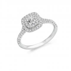 Cushion Cut Diamond Double Halo Platinum Engagement Ring with Diamond Set Split Shoulders