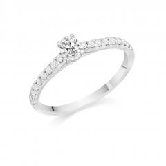 Oval Brilliant Cut Diamond Solitaire Platinum Engagement Ring with Diamond Set Shoulders