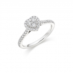 Platinum Heart Shaped Halo Diamond Engagement Ring with Diamond Set Shoulders and Multi Stone Invisible Set