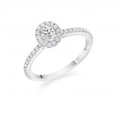 Oval Claw Set Diamond Halo Platinum Engagement Ring with Diamond Set Shoulders