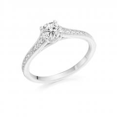 Round Brilliant Cut Diamond Platinum Engagement Ring with Diamond Set Shoulders