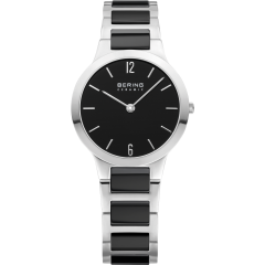 Ladies Stainless Steel and Black Ceramic Link Watch