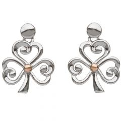 Silver and rose gold open shamrock earrings