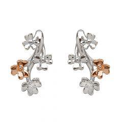 9ct white and rose gold shamrock diamond earrings