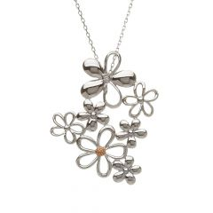 Silver and rose gold cluster petal pendant