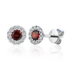 Garnet & Diamond Cluster Earrings