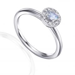 Moonstone & Diamond Cluster Ring