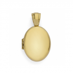 9ct yellow gold oval shaped plain locket