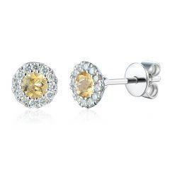 Citrine & Diamond Cluster Earrings