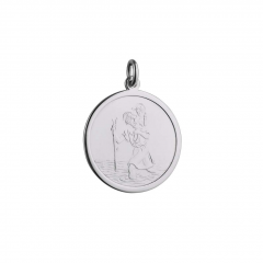 Sterling Silver 25mm plain round St Christopher Pendant