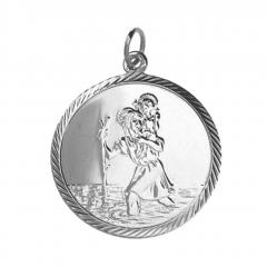 Sterling Silver 25mm diamond cut edge round St Christopher Pendant