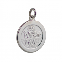 Sterling Silver 21mm plain round St Christopher Pendant
