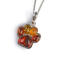 Henryka Amber and Silver Paw Print Necklace