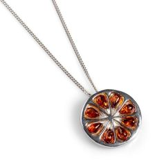 Orange Slice Necklace in silver & cognac amber
