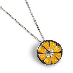 Henryka Lemon Slice Necklace in Silver & Yellow amber