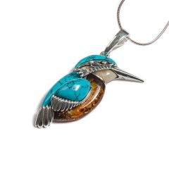 Henryka Large Amber and Turquoise Kingfisher Necklace