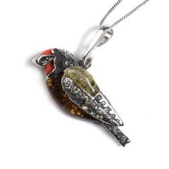 Henryka Amber, Silver and Coral Goldfinch Bird Necklace