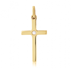 9ct Yellow Gold Modern Cross with Cubic Zirconia