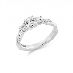 Platinum Diamond Trilogy Engagement Ring with Diamond Wave Set Shoulders
