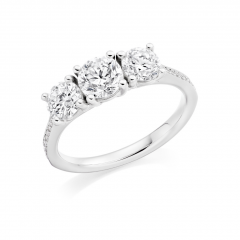 3 Stone Brilliant Cut Diamond Platinum Engagement Ring with Diamond Set Shoulders