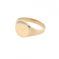 9ct Oval Light Signet Ring - Size U