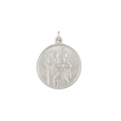 Silver medium circular St Christopher pendant