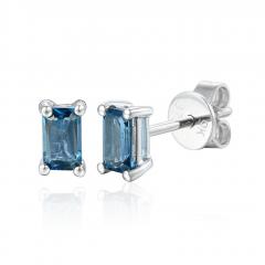 Tanzanite Gemstone 9ct white Gold Octagon Stud Earrings
