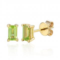 Peridot Gemstone 9ct Yellow Gold Octagon Stud Earrings