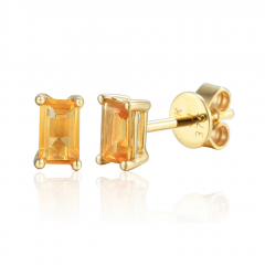 Citrine Gemstone Yellow Gold Octagon Stud Earrings