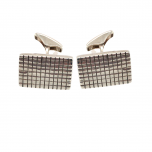 925 Sterling Silver Oblong Patterned Cufflinks