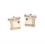 925 Sterling Silver Square Cufflinks with Ruby and Turn Bar Fastener