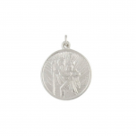 Silver medium circular St Christopher pendant